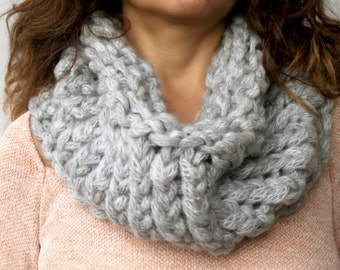 Clothing Gift. beauty Gift. Chunky Thick Cowl Scarf Taupe Grey Reversible Hand Knit  Women's Scarves