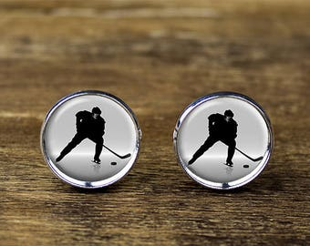 Ice Hockey cufflinks, Hockey cufflinks, Sports cufflinks, Hockey jewelry
