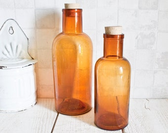 Set of 2 Large Apothecary French Amber Glass Bottles || Antique Glass Jars