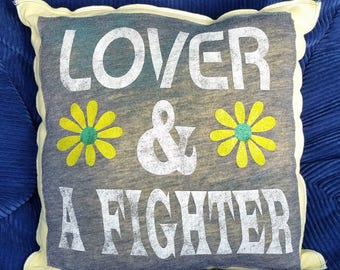 Lover & a Fighter-Upcycled Safe-Sex Pillow, w/ Condom and Lube Pockets, OOAK, gray, yellow, daisy, flower