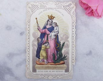 Antique French Lace Holy Card, Our Lady of Good Aid, Notre Dame de Bon Secours, Canivet Dentelle, 1800s, Coloured Etching