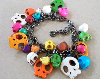 SKULL BRACELET Multi Colored Stone Beads Day of the Dead Gunmetal Chain