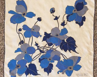 Christian Dior vintage silk scarf blue irises 1980's