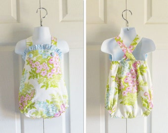 "Girls ""Jill"" Bubble Romper Summer Sunsuit Swimsuit in your choice of fabric - sizes 3 mos to 3T"