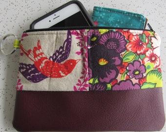 Vegan Leather Clutch - Red and Purple Bird Handbag - Echino Bird Gift - Echino fabric bag