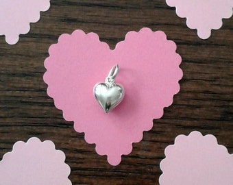 """Sterling Silver Small Puffed Heart Charm - Double-Sided - 1/4 x 1/4 x 1/8"""""""