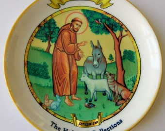 Saint Francis of Assisi! A hand-made Israeli souvenir plate