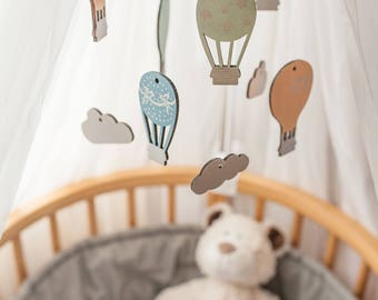Hot Air ballon mobile - Baby mobile hot air ballon - Crib mobile hot air ballon  - Wooden baby mobile - Baby mobile - Crib mobile