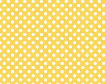 Riley Blake Small Dots, White on Yellow, fabric by the yard