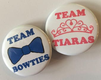 Set of 20 team tiara team bow tie gender reveal pins you choose size 1.25 inch or 1.5 inch