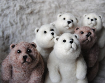 Wholesale - Bunch of Bears, Needle Felted Bears For Home Decoration, Handmade Animals, Christmas Gift - Set of 6 Big Bears - Made to order