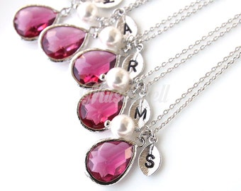 10% OFF, Bridesmaid gifts, Set of 7,8,9,10, Ruby stone necklace, Personalized wedding necklace, Bridal jewelry, July birthstone necklace,
