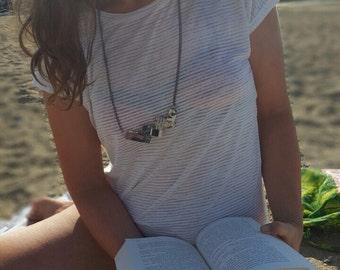 Paper necklace, minimalist necklace, eco necklace, funky necklace, eco jewelry, paper weave jewelry, paper weave necklace, statement jewelry