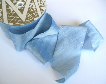 "Ice Blue Dupioni Ribbon 2"" wide sold by the yard"