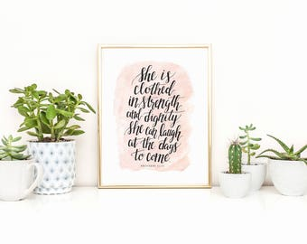 Proverbs 31 Art Print, She is Clothed in Strength, Hand Lettered Decor, Scripture Art Work, Hand Lettered Art Print