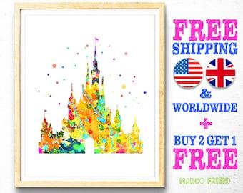 Disney Cinderella's Castle Prints, Free Shipping, Watercolor Art, Home Decor, Kids Decor, Baby Nursery Decor, Girls Wall Art, Gifts -87