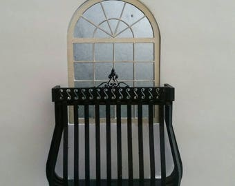 Miniature dollhouse wrought iron style balcony 1:12 scale