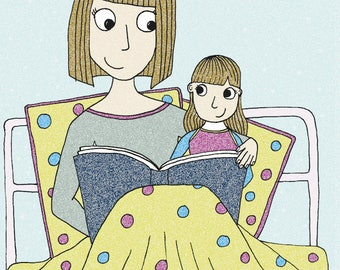 Bedtime Story - Mothers Day Card - Boy and Girl Versions
