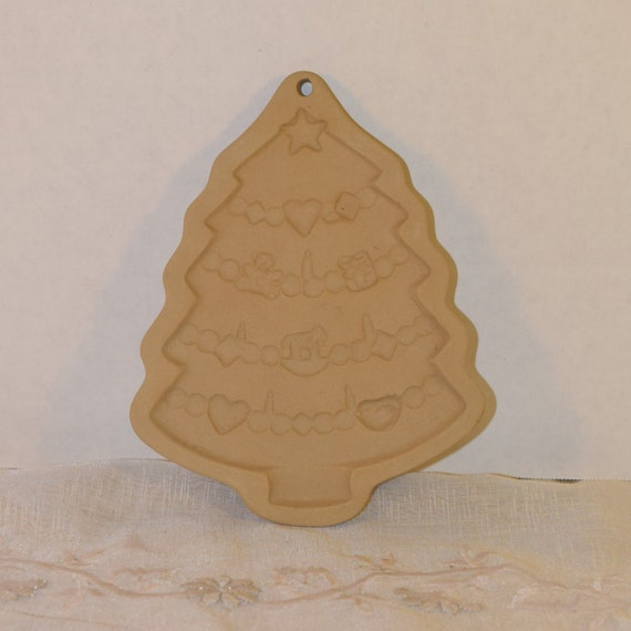 Brown Bag Cookie Art Christmas Tree Stamp Vintage Holiday Tree Cookie Mold Bisque Clay Mold Date 1986 Tree Shortbread Stamp Mold Decoration