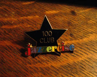 Jazzercise Lapel Pin - Vintage Exercise Aerobics Music Gym 100 Club Workout Pin