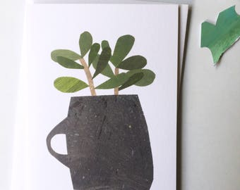 Succulents in a Grey Mug greetings card