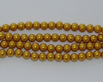 30 beads 10 mm mustard yellow glass Pearl