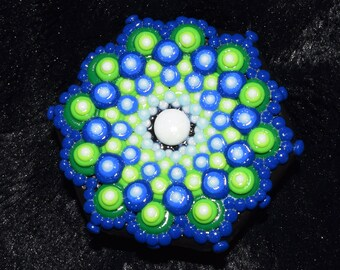 Blue to Lime Mandala Polymer Clay Decorated Hexagon Box