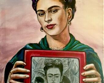 "Frida Khalo Etch a Sketch selfie 16"" x 20"" original acrylic painting"