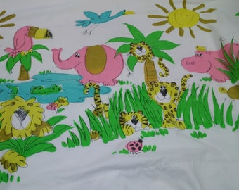 Cartoon Jungle Scene Flat Twin Sheet Tucan, Tiger, Hippo, Lion Elephant Grass Lake