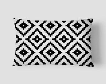 """Black Aztec // Decorative Pillow Cover 12""""x18"""" // Lumbar Pillow // Rectangular Throw Pillow"""
