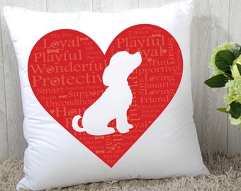 I Heart My Dog Statement Pillow