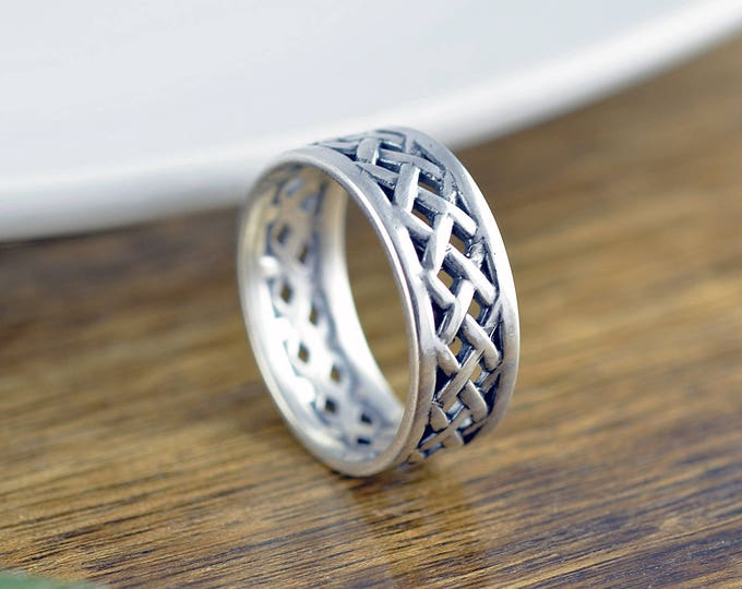 Sterling Silver Woven Band - Cigar Band Ring - Boho Ring - Modern Ring - Womens Rings - Gift For Her - Statement Ring