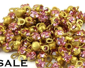 Vintage Rose Swarovski Rhinestone Drop Crystal Charms (24X) (S521) SALE - 50% off