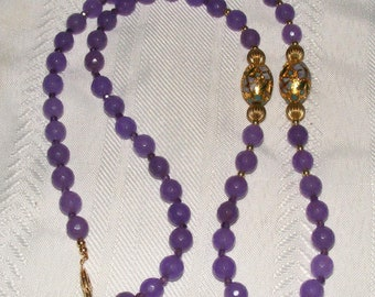Beautiful Lavender Amethyst Gold Filled Cloisonne Necklace