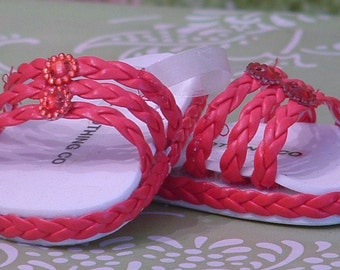 Red Braid Sandals for American Girl