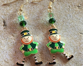 St Patrick's Jewelry, St Patrick's Earrings, Leprechaun Earrings, Green Earrings, Jewelry