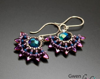 Solstice Beaded Earrings Purple Blue Aqua Sterling Silver