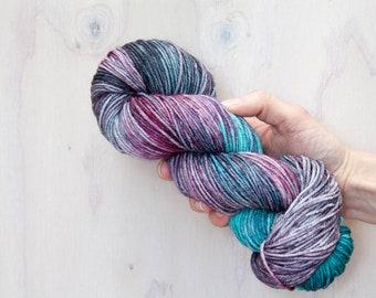 Hand dyed yarn, merino yarn, nylon yarn, dk yarn, hand dyed dk yarn, variegated yarn, purple yarn, grey yarn, blue yarn, dk yarn