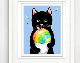 Shave Ice Cat art, Black Kitty art, Black Cat art print, Rainbow Cat art, Children's Art, Nursery Art, Black Cat giclee print, bathroom art