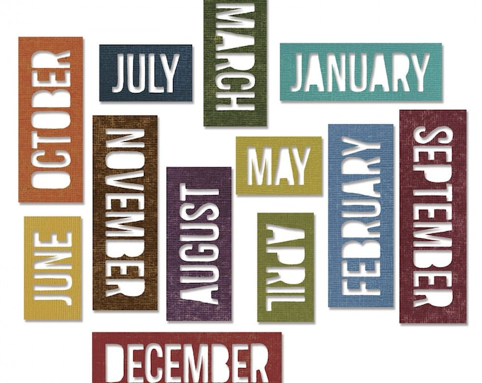 Sizzix Tim Holtz Thinlits Die Set 12PK - Calendar Words: Block