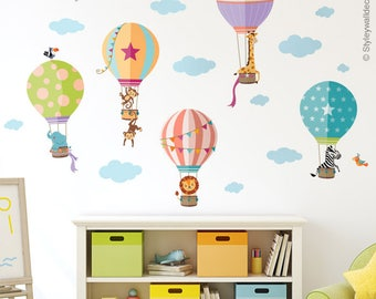 Air Balloons Wall Decal, Jungle Animals Wall Decal Sticker, Hot Air  Balloons Wall Sticker, Air Balloons Baby Nursery Decor, Kids Room Decal