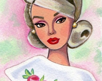 Original Acrylic Postcard size Painting Poppy Parker Barbie girl doll size 6 x 4 inches