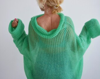 Green mohair loose sweater for women, green warm sweater for ladies, wool knit big sweater, oversized handknit sweater, light sweater