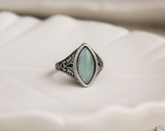 Blue Quartz Ring. Navette Ring
