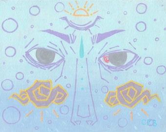 Correcteur - impression d'art 11 x 14 po. / / hipster pastel goth humeur anime peinture