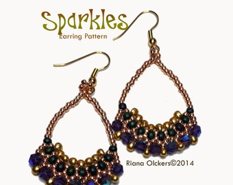 Beaded Earrings Pattern / Tutorial Sparkles - Instant Download PDF