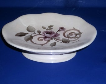 Soap Dish with Purple Rose Floral Design