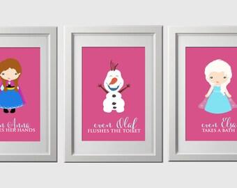 Frozen Bathroom Wall Prints, Bathroom Wall Art, Princess, 3 High Quality  Prints Shipped