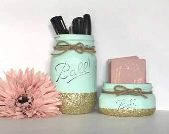 2 Pc. Mason Jar Office Set- Mint Green with Gold Glitter- Business Card Holder & Pen Holder- Office Gifts- Coworker Gifts