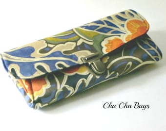 Women's Wallet, Smartphone iPhone Wallet, Clutch, Purse, Accordion, Blue Wallet in Fall Leaves - Ready to Ship